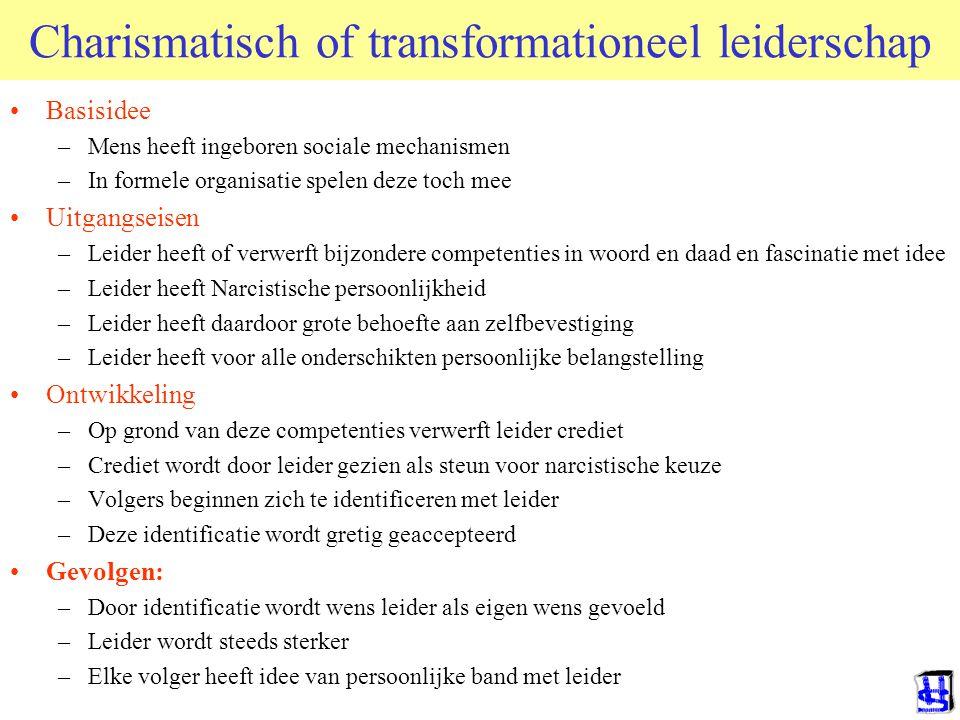 Charismatisch of transformationeel leiderschap Basisidee –Mens heeft ingeboren sociale mechanismen –In formele organisatie spelen deze toch mee Uitgan