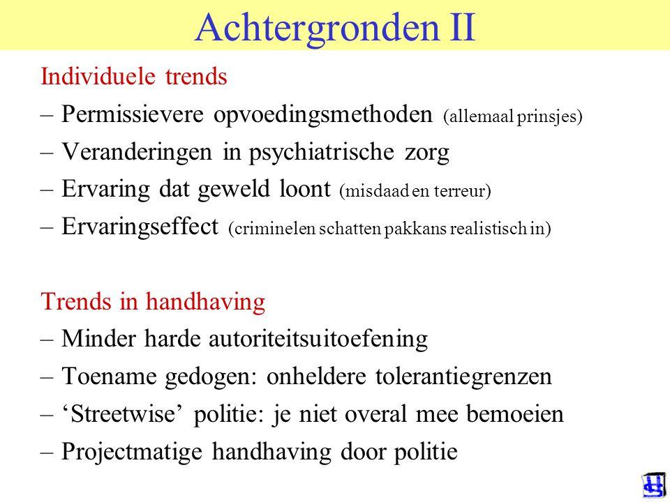 Achtergronden II Individuele trends –Permissievere opvoedingsmethoden (allemaal prinsjes) –Veranderingen in psychiatrische zorg –Ervaring dat geweld l