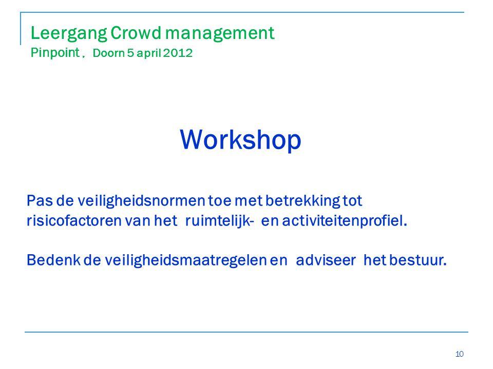 10 Workshop Pas de veiligheidsnormen toe met betrekking tot risicofactoren van het ruimtelijk- en activiteitenprofiel.