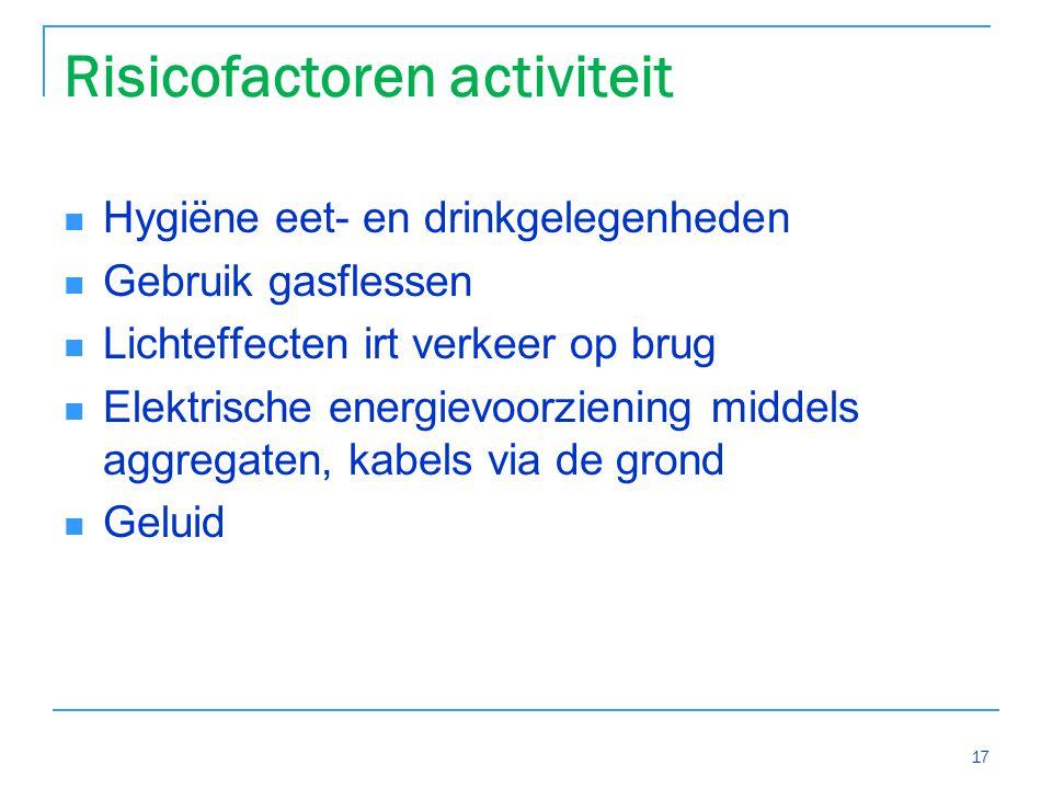 Risicofactoren activiteit Hygiëne eet- en drinkgelegenheden Gebruik gasflessen Lichteffecten irt verkeer op brug Elektrische energievoorziening middels aggregaten, kabels via de grond Geluid 17