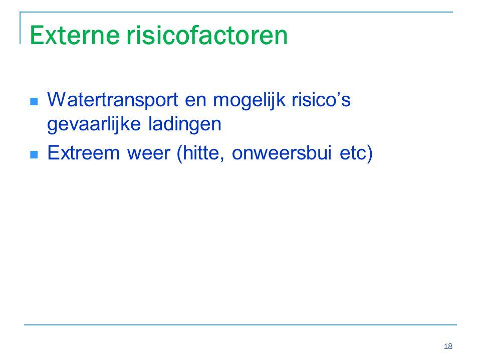 Externe risicofactoren Watertransport en mogelijk risico's gevaarlijke ladingen Extreem weer (hitte, onweersbui etc) 18
