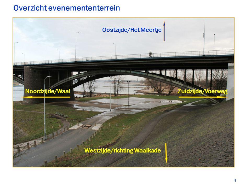 Overzicht evenemententerrein Oostzijde/Het Meertje Noordzijde/WaalZuidzijde/Voerweg Westzijde/richting Waalkade 4