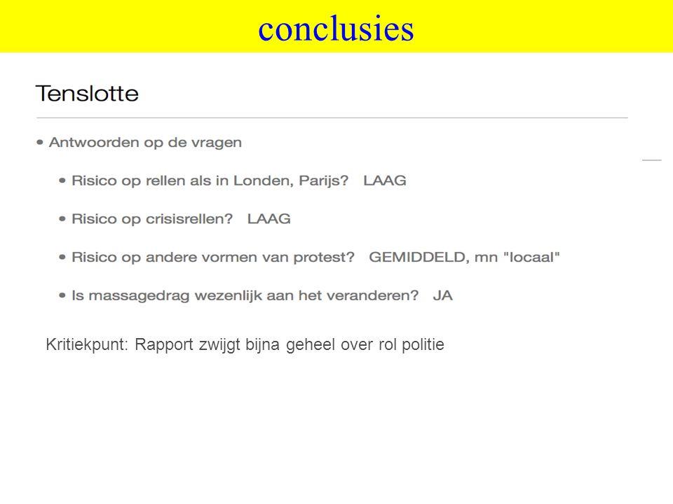 ©vandeSandeinlezingen,2011 conclusies Kritiekpunt: Rapport zwijgt bijna geheel over rol politie