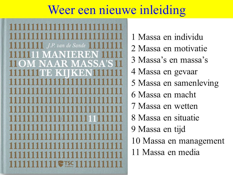 ©vandeSandeinlezingen,2011 Weer een nieuwe inleiding 1 Massa en individu 2 Massa en motivatie 3 Massa's en massa's 4 Massa en gevaar 5 Massa en samenleving 6 Massa en macht 7 Massa en wetten 8 Massa en situatie 9 Massa en tijd 10 Massa en management 11 Massa en media