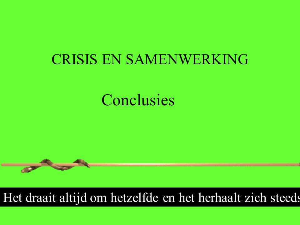 CRISIS EN SAMENWERKING Conclusies Het draait altijd om hetzelfde en het herhaalt zich steeds