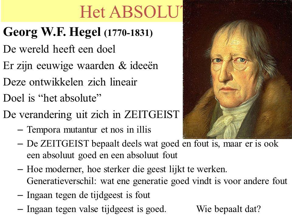 """Het ABSOLUTE ? Georg W.F. Hegel (1770-1831) De wereld heeft een doel Er zijn eeuwige waarden & ideeën Deze ontwikkelen zich lineair Doel is """"het absol"""