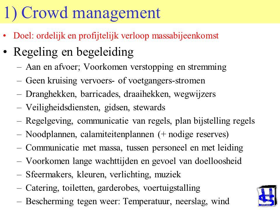 © 2006 JP van de Sande RuG 1) Crowd management Doel: ordelijk en profijtelijk verloop massabijeenkomst Regeling en begeleiding –Aan en afvoer; Voorkomen verstopping en stremming –Geen kruising vervoers- of voetgangers-stromen –Dranghekken, barricades, draaihekken, wegwijzers –Veiligheidsdiensten, gidsen, stewards –Regelgeving, communicatie van regels, plan bijstelling regels –Noodplannen, calamiteitenplannen (+ nodige reserves) –Communicatie met massa, tussen personeel en met leiding –Voorkomen lange wachttijden en gevoel van doelloosheid –Sfeermakers, kleuren, verlichting, muziek –Catering, toiletten, garderobes, voertuigstalling –Bescherming tegen weer: Temperatuur, neerslag, wind