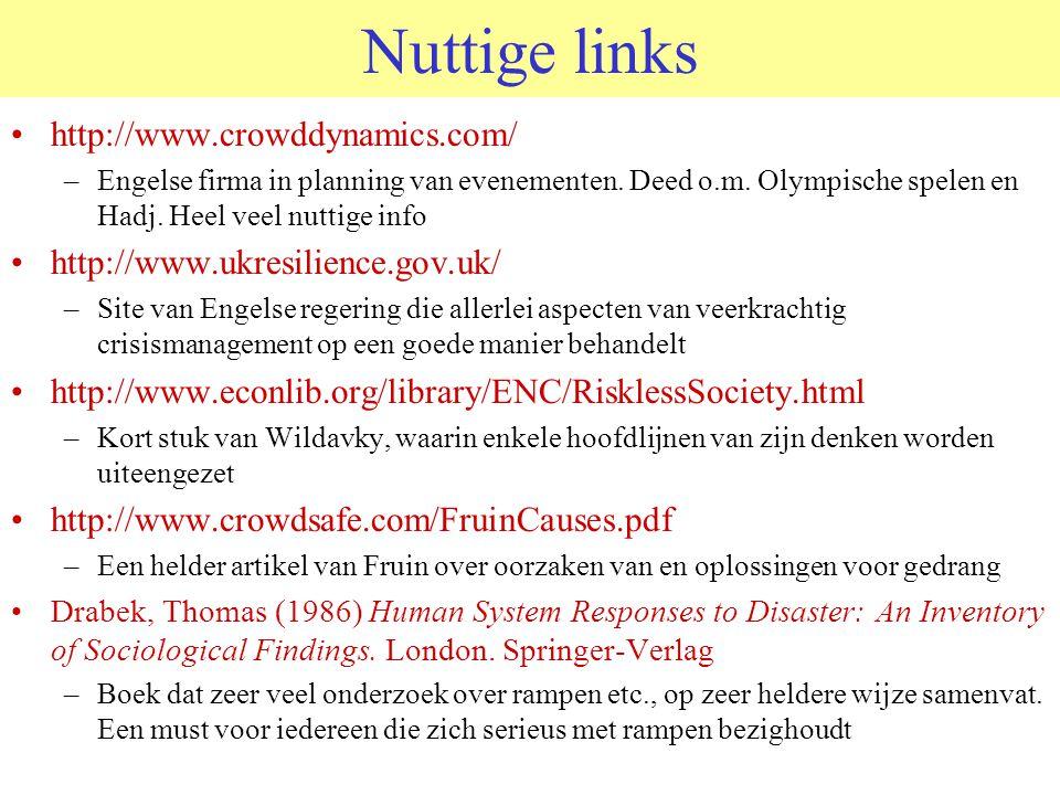 Nuttige links http://www.crowddynamics.com/ –Engelse firma in planning van evenementen.