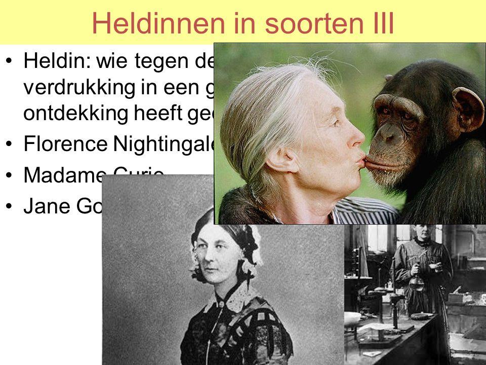 Heldinnen in soorten III Heldin: wie tegen de verdrukking in een grote ontdekking heeft gedaan Florence Nightingale Madame Curie Jane Goodall