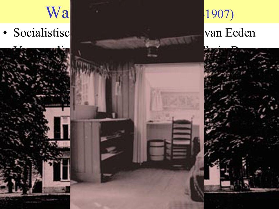 Walden anderhalf (1898-1907) Socialistisch experiment van Frederik van Eeden Verzameling huisjes en hutten rond villa in Bussum Rond 1900 veertig leden, waarvan, volgens roddels, er 4 werkten Aantrekkelijk voor 'maatschappelijke schipbreukelingen'