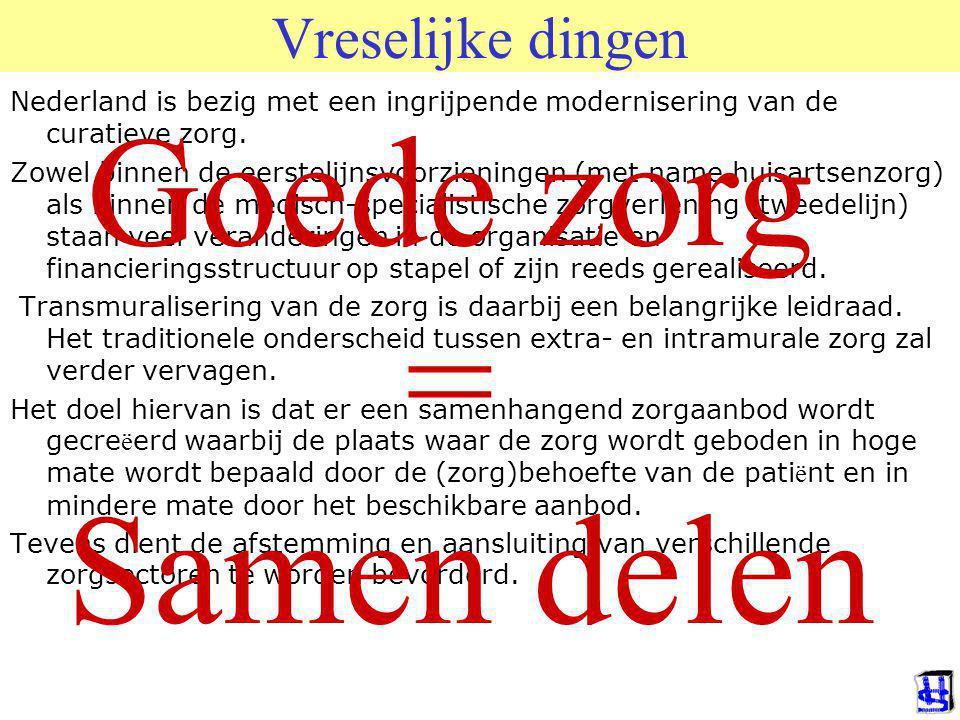 © 2009 JP van de Sande RuG Vreselijke dingen Nederland is bezig met een ingrijpende modernisering van de curatieve zorg.