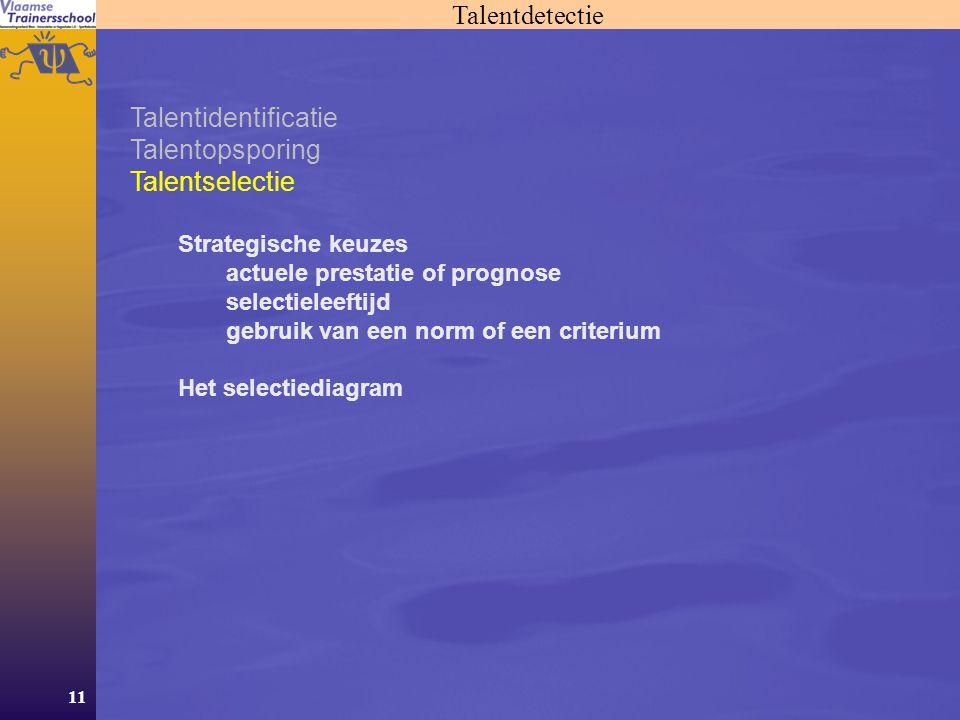 11 Talentdetectie Talentidentificatie Talentopsporing Talentselectie Strategische keuzes actuele prestatie of prognose selectieleeftijd gebruik van een norm of een criterium Het selectiediagram