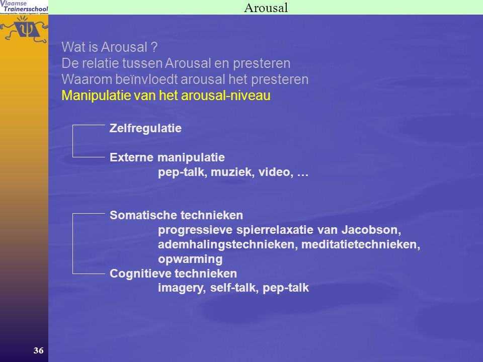 36 Arousal Wat is Arousal ? De relatie tussen Arousal en presteren Waarom beïnvloedt arousal het presteren Manipulatie van het arousal-niveau Zelfregu