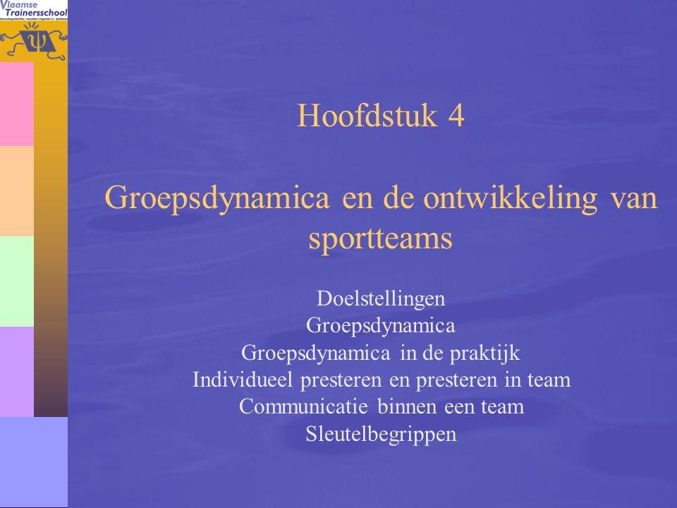 59 Hoofdstuk 4 Groepsdynamica en de ontwikkeling van sportteams Doelstellingen Groepsdynamica Groepsdynamica in de praktijk Individueel presteren en p