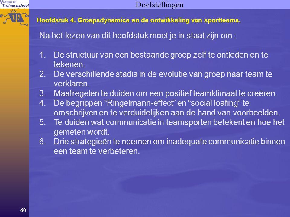 60 Doelstellingen Hoofdstuk 4.Groepsdynamica en de ontwikkeling van sportteams.
