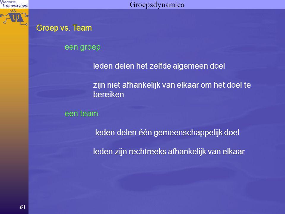 61 Groepsdynamica Groep vs. Team een groep leden delen het zelfde algemeen doel zijn niet afhankelijk van elkaar om het doel te bereiken een team lede