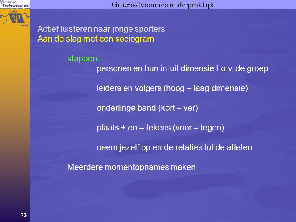73 Groepsdynamica in de praktijk Actief luisteren naar jonge sporters Aan de slag met een sociogram stappen : personen en hun in-uit dimensie t.o.v.