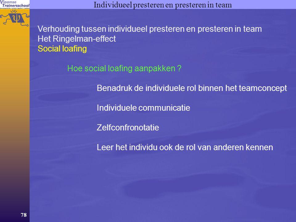 78 Individueel presteren en presteren in team Verhouding tussen individueel presteren en presteren in team Het Ringelman-effect Social loafing Hoe soc