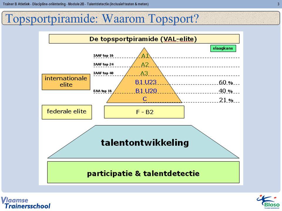 Trainer B Atletiek - Discipline-oriëntering - Module 2B - Talentdetectie (inclusief testen & meten)3 Topsportpiramide: Waarom Topsport?