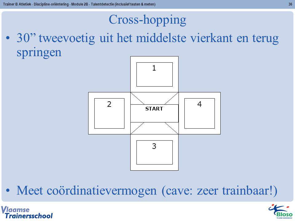 """Trainer B Atletiek - Discipline-oriëntering - Module 2B - Talentdetectie (inclusief testen & meten)36 Cross-hopping 30"""" tweevoetig uit het middelste v"""