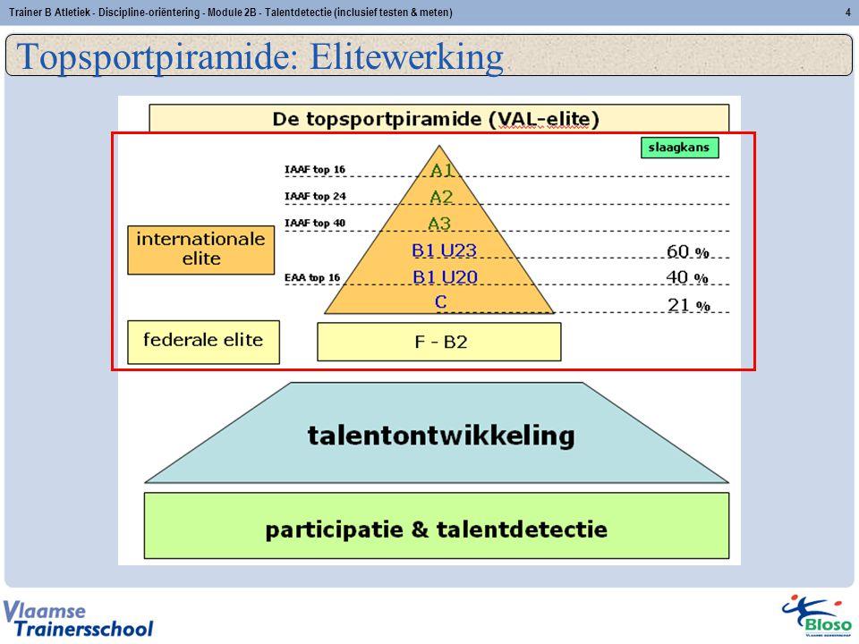 Trainer B Atletiek - Discipline-oriëntering - Module 2B - Talentdetectie (inclusief testen & meten)4 Topsportpiramide: Elitewerking