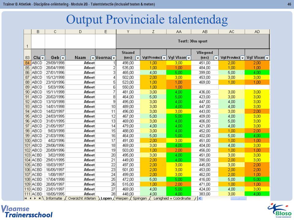 Trainer B Atletiek - Discipline-oriëntering - Module 2B - Talentdetectie (inclusief testen & meten)46 Output Provinciale talentendag