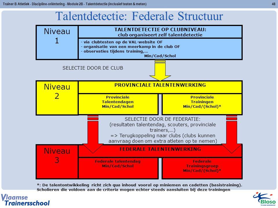 Trainer B Atletiek - Discipline-oriëntering - Module 2B - Talentdetectie (inclusief testen & meten)48 Talentdetectie: Federale Structuur - via clubtes