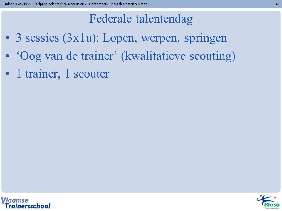 Trainer B Atletiek - Discipline-oriëntering - Module 2B - Talentdetectie (inclusief testen & meten)49 Federale talentendag 3 sessies (3x1u): Lopen, we