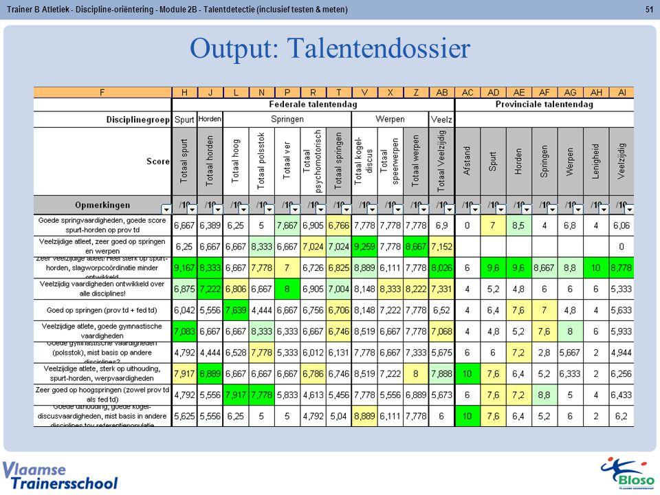 Trainer B Atletiek - Discipline-oriëntering - Module 2B - Talentdetectie (inclusief testen & meten)51 Output: Talentendossier