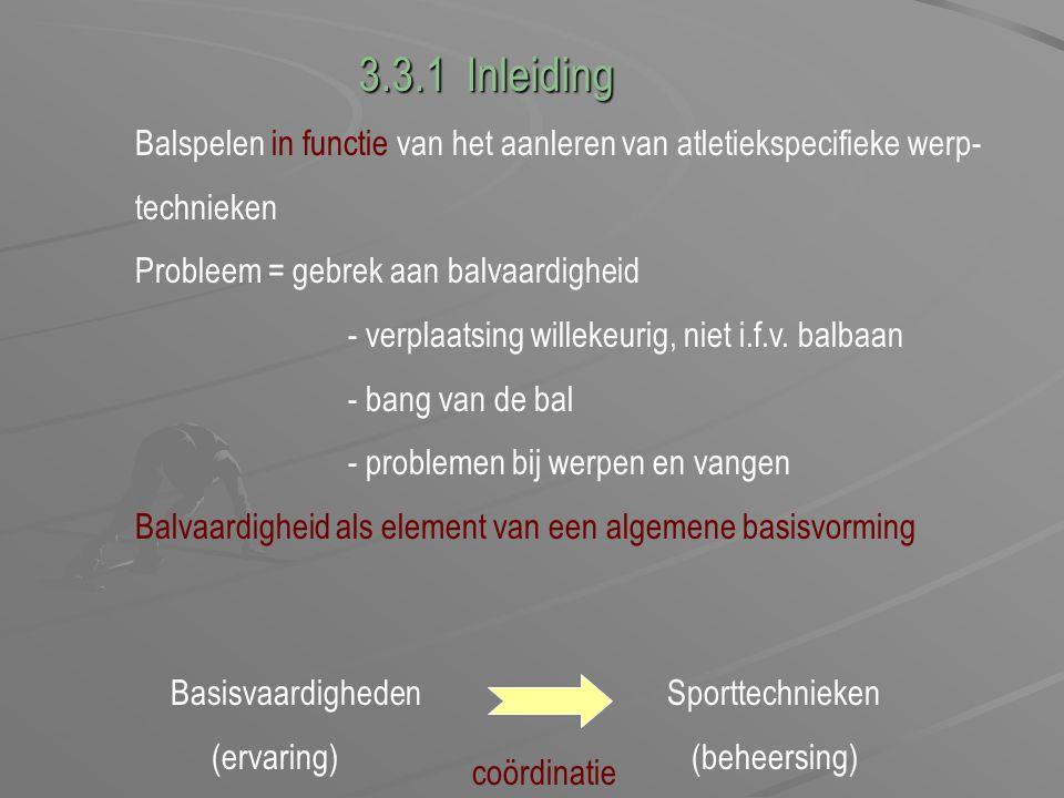 Balspelen in functie van het aanleren van atletiekspecifieke werp- technieken Probleem = gebrek aan balvaardigheid - verplaatsing willekeurig, niet i.