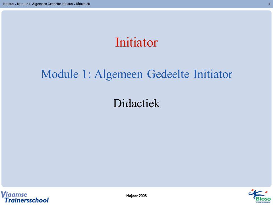 Najaar 2008 Initiator - Module 1: Algemeen Gedeelte Initiator - Didactiek1 Initiator Module 1: Algemeen Gedeelte Initiator Didactiek