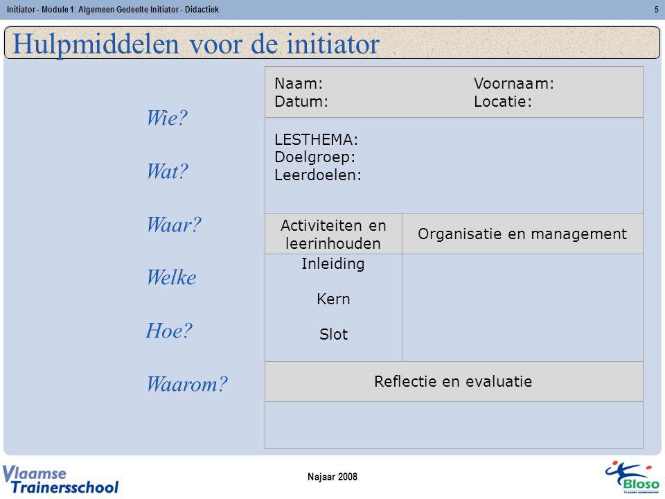 Najaar 2008 Initiator - Module 1: Algemeen Gedeelte Initiator - Didactiek5 Hulpmiddelen voor de initiator Wie.