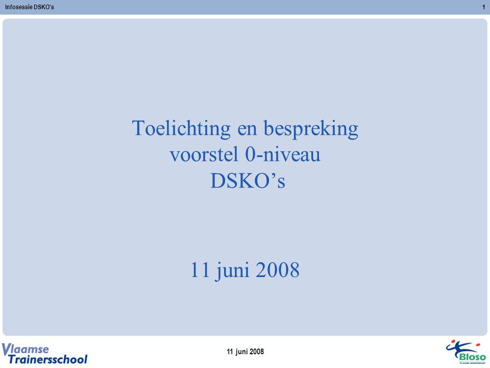 11 juni 2008 Infosessie DSKO s1 Toelichting en bespreking voorstel 0-niveau DSKO's 11 juni 2008