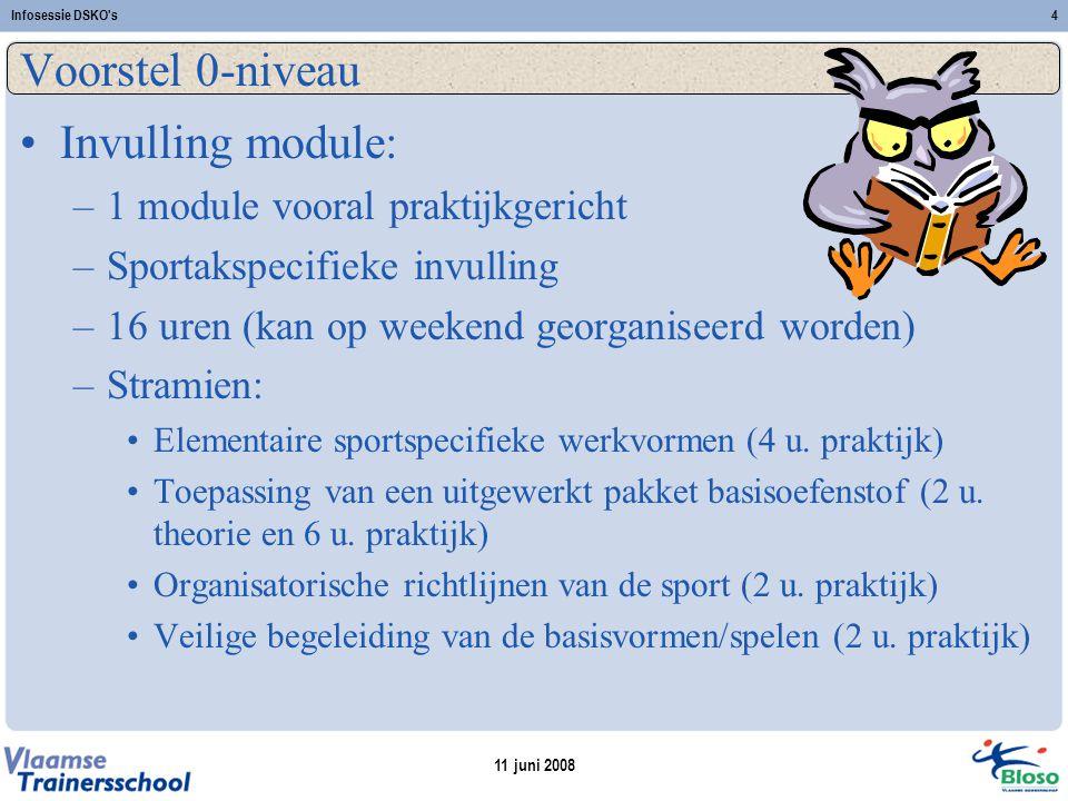 11 juni 2008 Infosessie DSKO s4 Voorstel 0-niveau Invulling module: –1 module vooral praktijkgericht –Sportakspecifieke invulling –16 uren (kan op weekend georganiseerd worden) –Stramien: Elementaire sportspecifieke werkvormen (4 u.