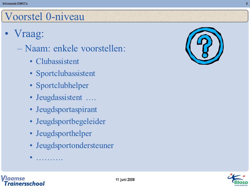 11 juni 2008 Infosessie DSKO s8 Voorstel 0-niveau Vraag: –Naam: enkele voorstellen: Clubassistent Sportclubassistent Sportclubhelper Jeugdassistent ….