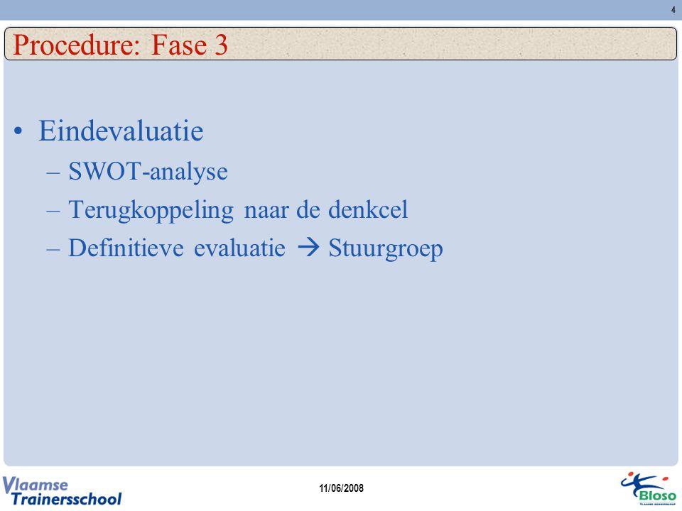 11/06/2008 4 Procedure: Fase 3 Eindevaluatie –SWOT-analyse –Terugkoppeling naar de denkcel –Definitieve evaluatie  Stuurgroep
