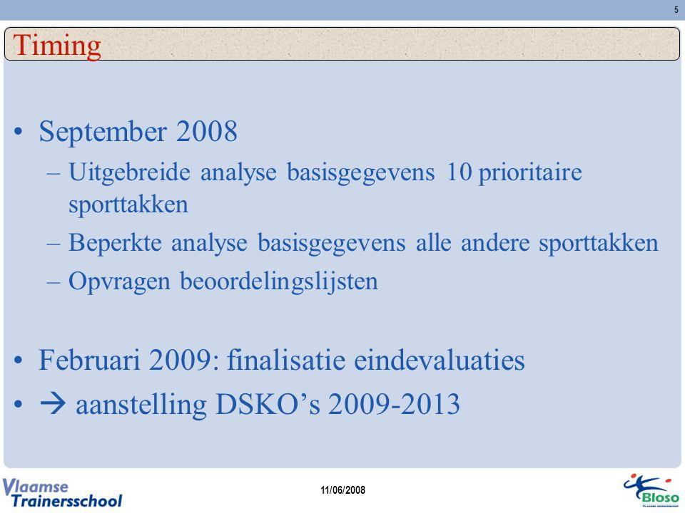 11/06/2008 5 Timing September 2008 –Uitgebreide analyse basisgegevens 10 prioritaire sporttakken –Beperkte analyse basisgegevens alle andere sporttakk