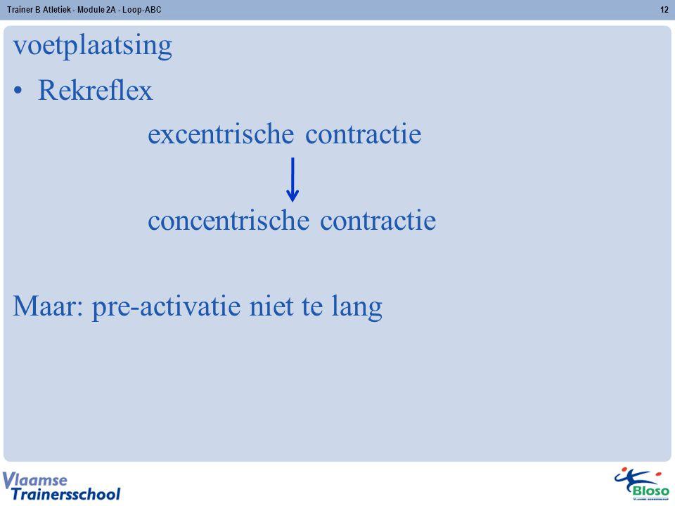 voetplaatsing Rekreflex excentrische contractie concentrische contractie Maar: pre-activatie niet te lang Trainer B Atletiek - Module 2A - Loop-ABC12