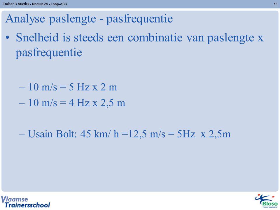 Analyse paslengte - pasfrequentie Snelheid is steeds een combinatie van paslengte x pasfrequentie –10 m/s = 5 Hz x 2 m –10 m/s = 4 Hz x 2,5 m –Usain Bolt: 45 km/ h =12,5 m/s = 5Hz x 2,5m 13Trainer B Atletiek - Module 2A - Loop-ABC