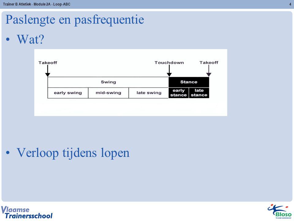 Paslengte en pasfrequentie Wat? Verloop tijdens lopen 4Trainer B Atletiek - Module 2A - Loop-ABC