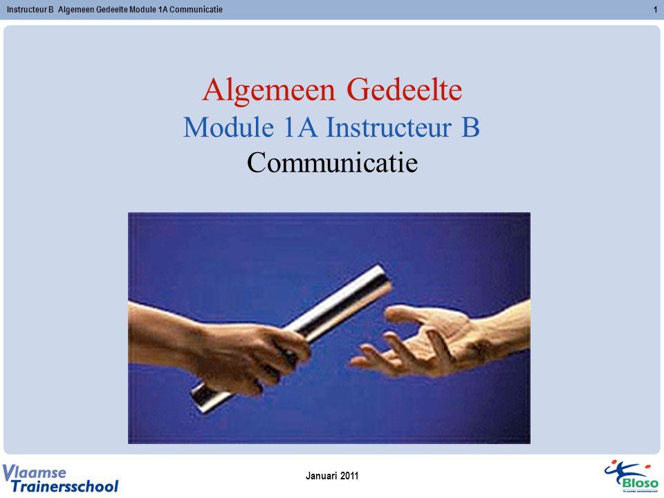Januari 2011 Instructeur B Algemeen Gedeelte Module 1A Communicatie1 Algemeen Gedeelte Module 1A Instructeur B Communicatie