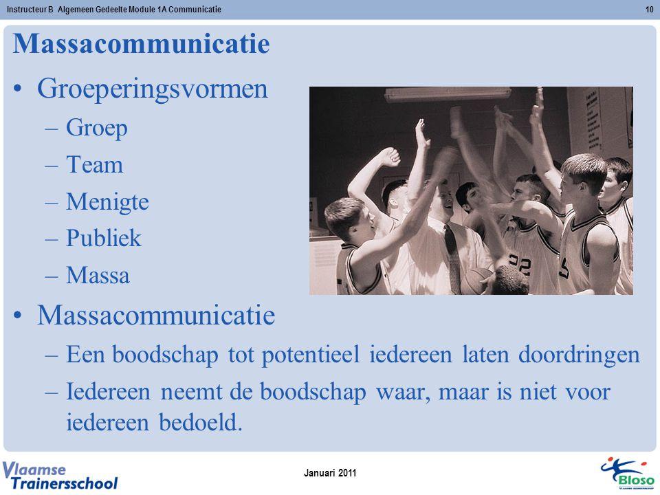 Massacommunicatie Groeperingsvormen –Groep –Team –Menigte –Publiek –Massa Massacommunicatie –Een boodschap tot potentieel iedereen laten doordringen –Iedereen neemt de boodschap waar, maar is niet voor iedereen bedoeld.
