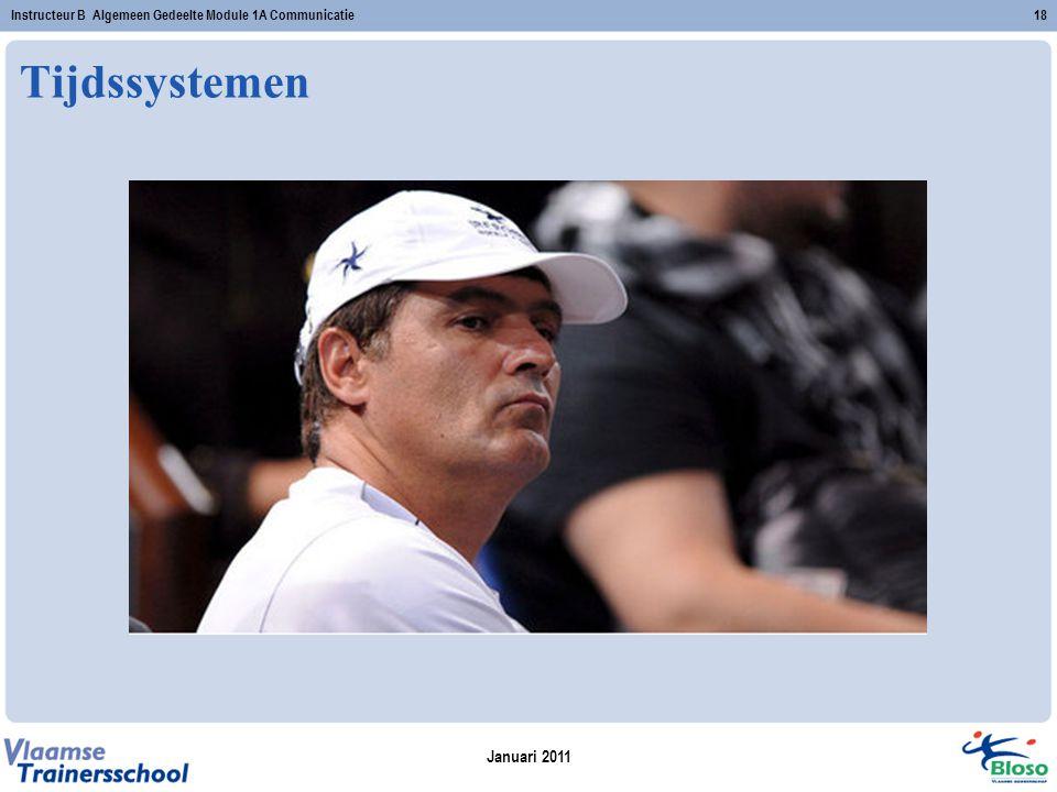 Januari 2011 Instructeur B Algemeen Gedeelte Module 1A Communicatie18 Tijdssystemen