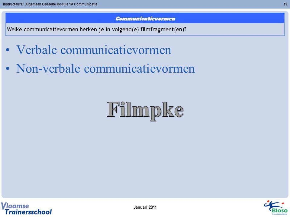 Januari 2011 Instructeur B Algemeen Gedeelte Module 1A Communicatie19 Verbale communicatievormen Non-verbale communicatievormen Communicatievormen Wel