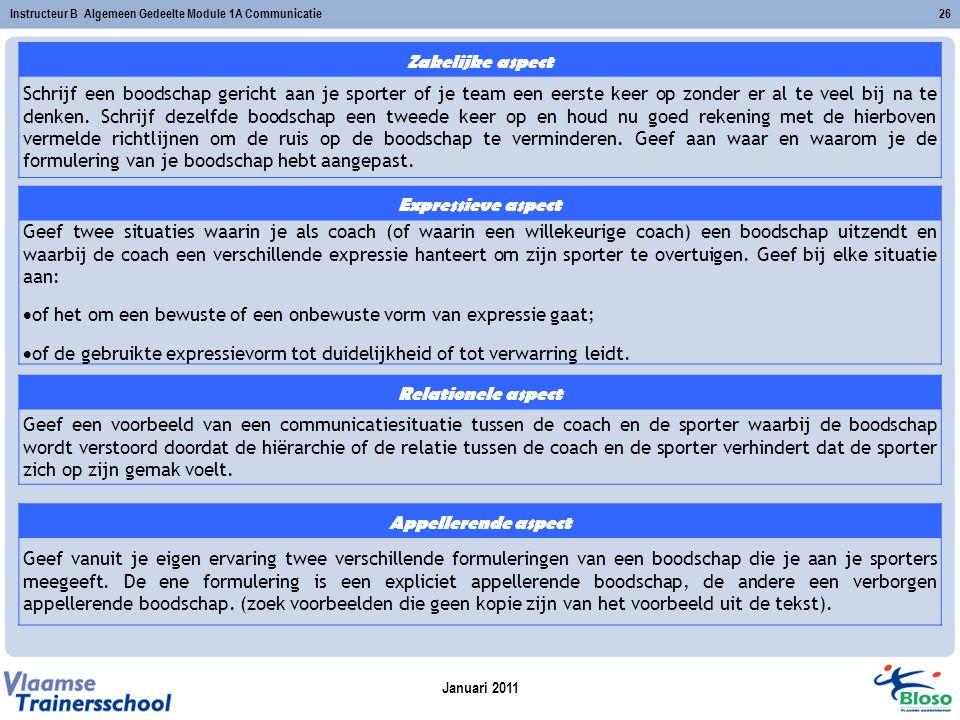 Januari 2011 Instructeur B Algemeen Gedeelte Module 1A Communicatie26 Zakelijke aspect Schrijf een boodschap gericht aan je sporter of je team een eer