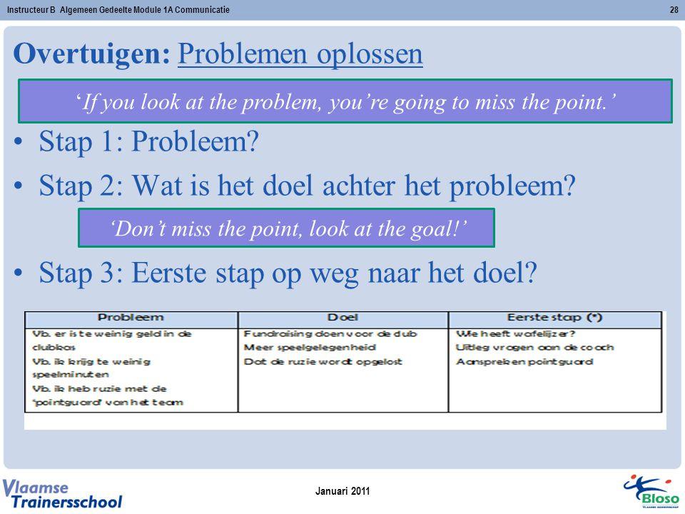Januari 2011 Instructeur B Algemeen Gedeelte Module 1A Communicatie28 Overtuigen: Problemen oplossen Stap 1: Probleem? Stap 2: Wat is het doel achter