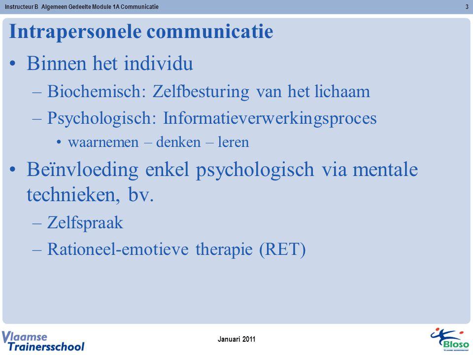 Intrapersonele communicatie Binnen het individu –Biochemisch: Zelfbesturing van het lichaam –Psychologisch: Informatieverwerkingsproces waarnemen – denken – leren Beïnvloeding enkel psychologisch via mentale technieken, bv.