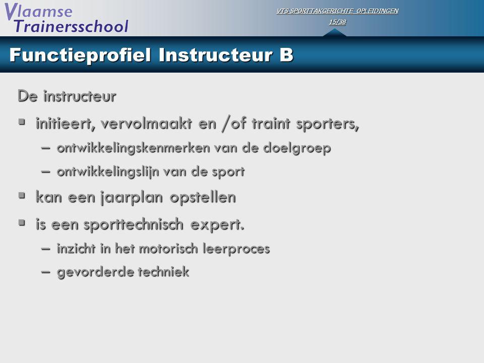 VTS SPORTTAKGERICHTE OPLEIDINGEN 15/38 Functieprofiel Instructeur B De instructeur  initieert, vervolmaakt en /of traint sporters, –ontwikkelingskenm