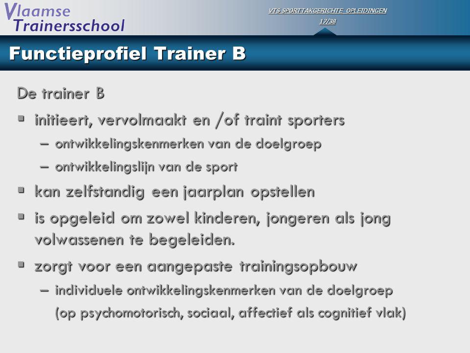 VTS SPORTTAKGERICHTE OPLEIDINGEN 17/38 Functieprofiel Trainer B De trainer B  initieert, vervolmaakt en /of traint sporters –ontwikkelingskenmerken v