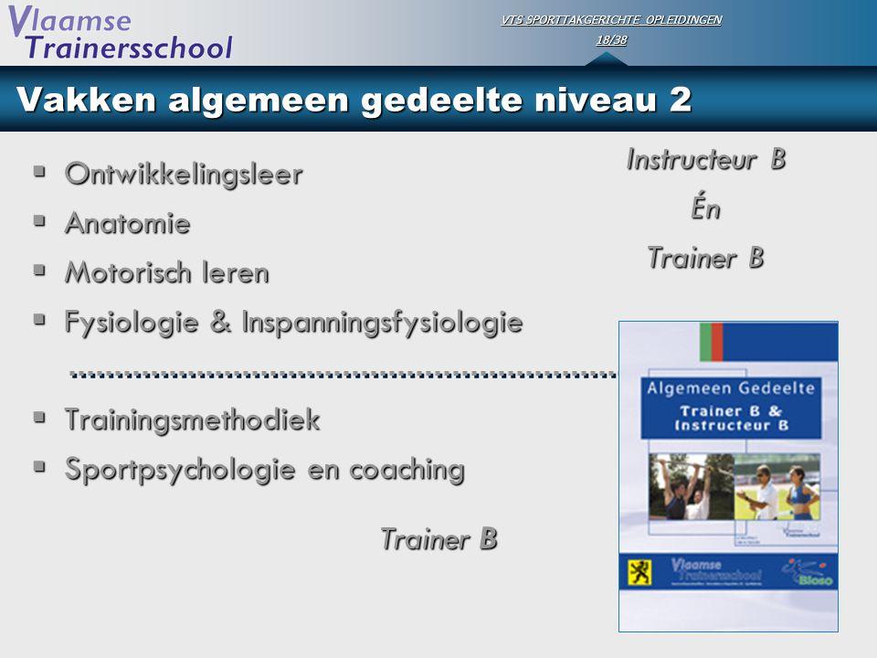 VTS SPORTTAKGERICHTE OPLEIDINGEN 18/38 Vakken algemeen gedeelte niveau 2  Ontwikkelingsleer  Anatomie  Motorisch leren  Fysiologie & Inspanningsfy